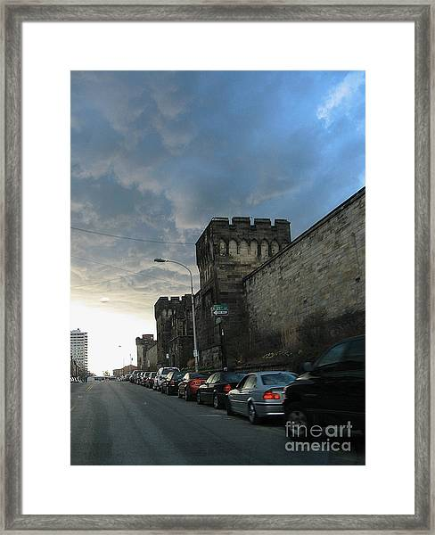 Heavy Weather Over Eastern State Framed Print