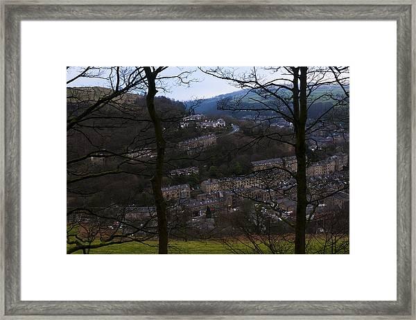 Hebden Bridge Through Trees Framed Print