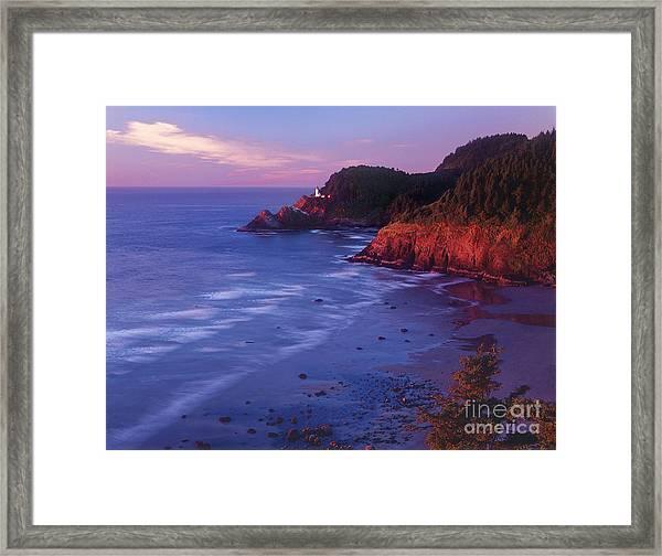 Heceta Head Lighthouse At Sunset Oregon Coast Framed Print