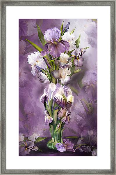 Heirloom Iris In Iris Vase Framed Print