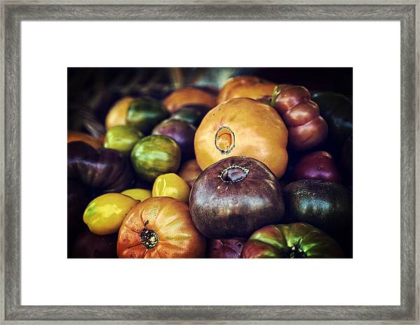 Heirloom Tomatoes At The Farmers Market Framed Print