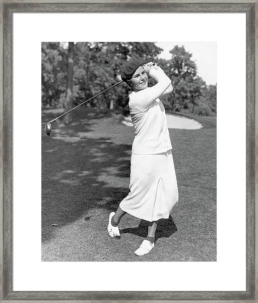 Helen Hicks Playing Golf Framed Print by Acme