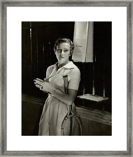 Helen Jacobs Holding A Tennis Racket Framed Print by Edward Steichen