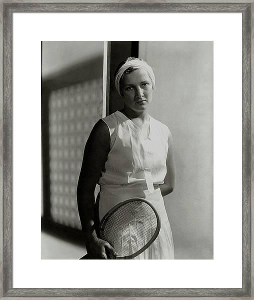 Helen Jacobs Holding A Tennis Racket Framed Print