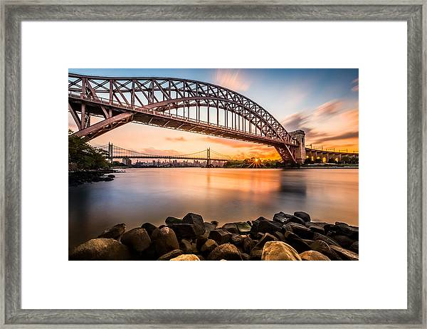 Hell Gate And Triboro Bridge At Sunset Framed Print