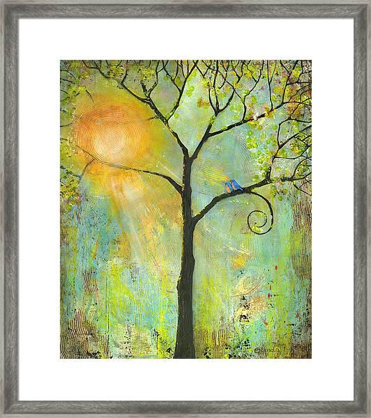 Hello Sunshine Tree Birds Sun Art Print Framed Print
