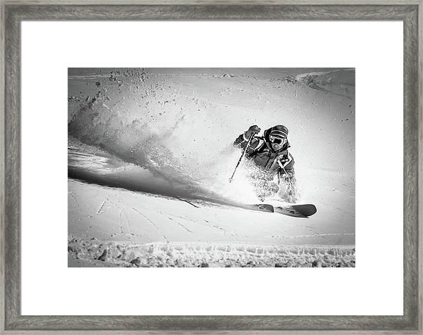 Henri Making A Powder Turn... Framed Print