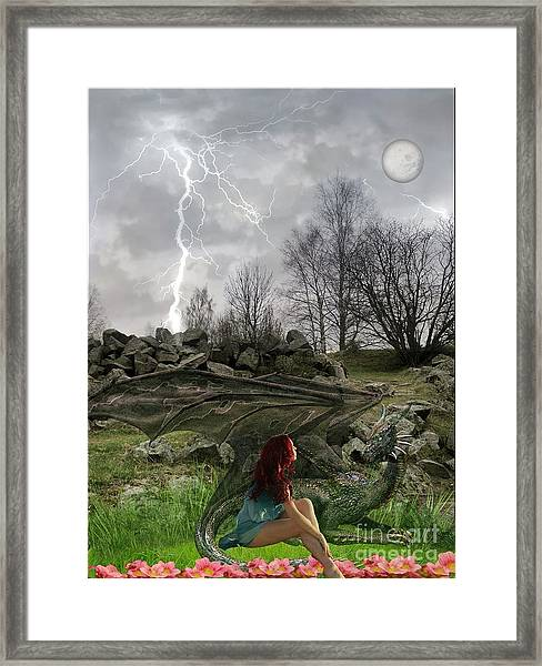 Her Dragon Framed Print