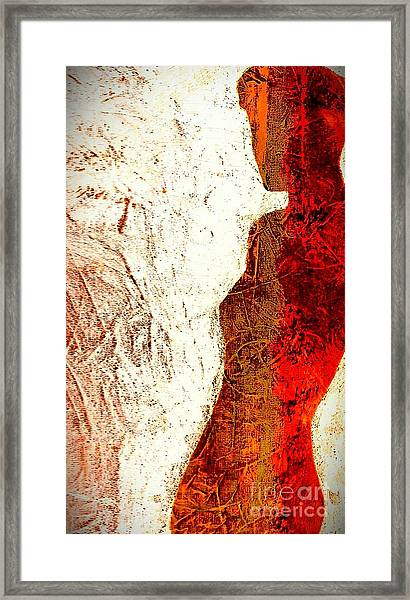 Her Red Silhouette Framed Print