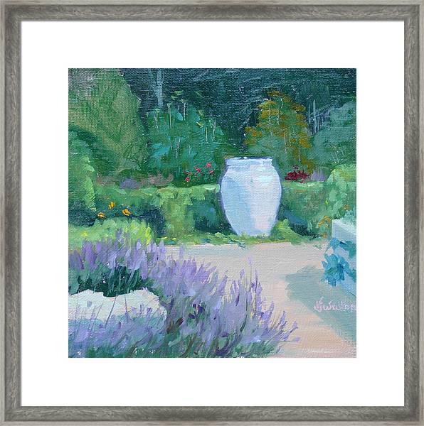 Herb Garden With Lavender Framed Print by Judy Fischer Walton