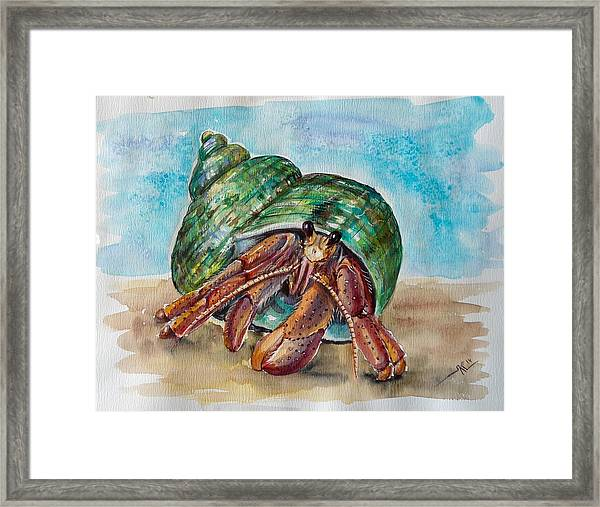 Framed Print featuring the painting Hermit Crab 4 by Katerina Kovatcheva