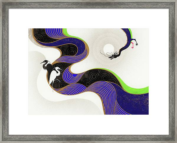 Herons Across Twisting River From Dragon Framed Print