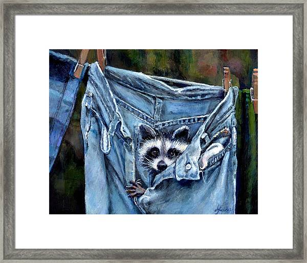 Hiding In My Jeans Framed Print
