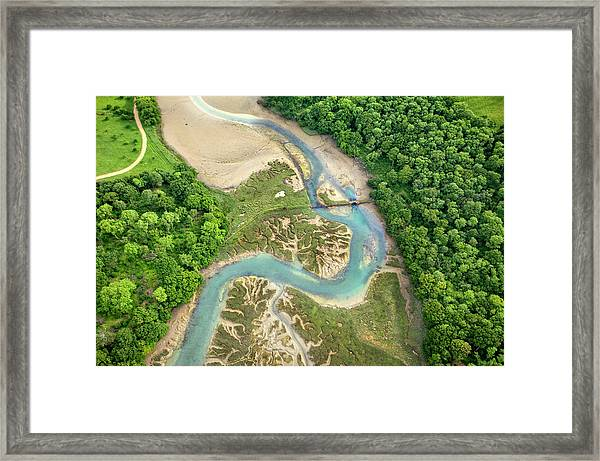 High Angle View Of A Woodside Bay Framed Print