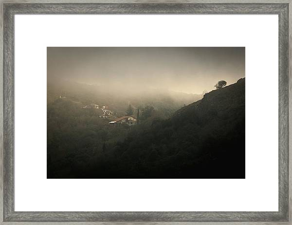 High Angle View Of Cosquin On Foggy Day Framed Print by Andres Ruffo / EyeEm