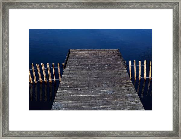 High Angle View Of Jetty Over Lake Framed Print by Paulien Tabak / EyeEm