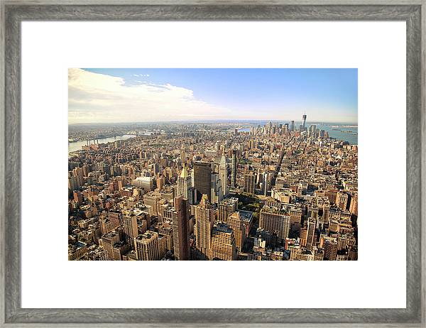 High Angle View Of New York City Framed Print