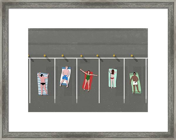 High Angle View Of People Sunbathing In Framed Print by Malte Mueller