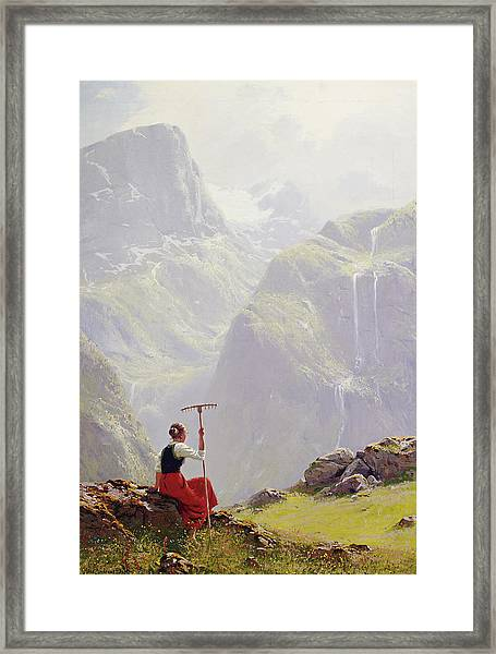 Framed Print featuring the painting High In The Mountains by Hans Andreas Dahl
