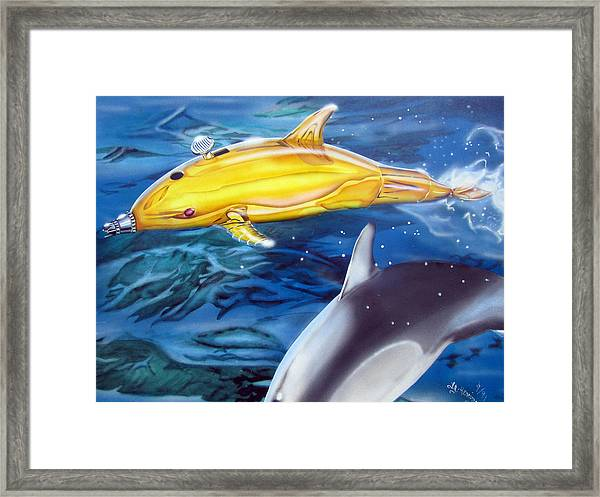 High Tech Dolphins Framed Print