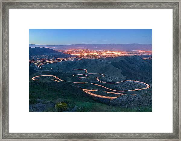 Highway 74 Palm Desert Ca Vista Point Light Painting Framed Print