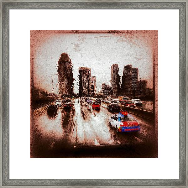 Framed Print featuring the photograph Highway City by Yen