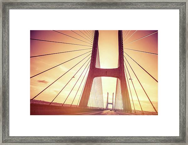 Highway On Vasco Da Gama Bridge In Framed Print