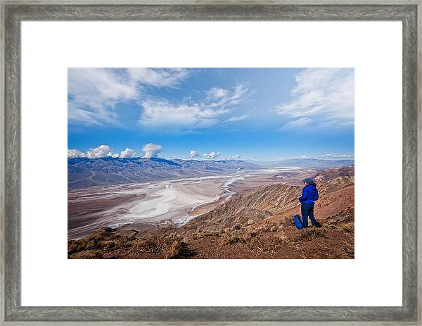Hiker At Dante's View Framed Print by JeffGoulden