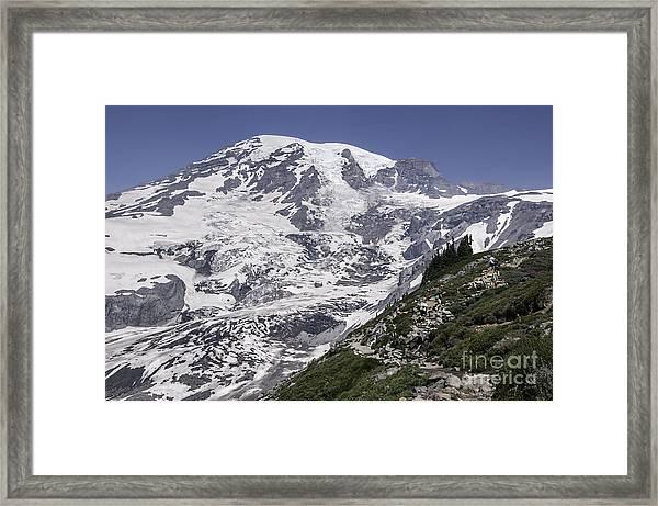 Hiking Mt Rainier Framed Print
