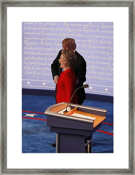 Hillary Clinton And Donald Trump Face Off In First Presidential Debate At Hofstra University Framed Print by Pool