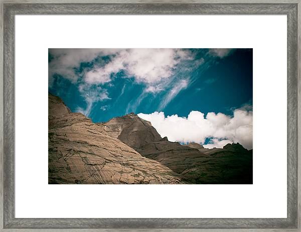 Himalyas Mountains In Tibet With Clouds Framed Print