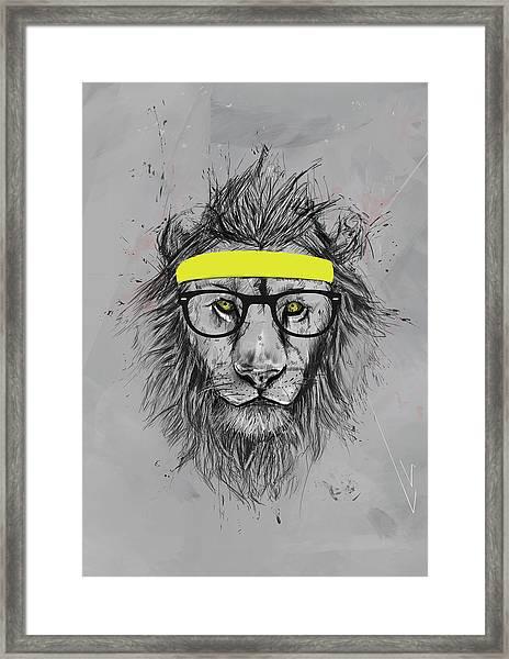 Hipster Lion Framed Print