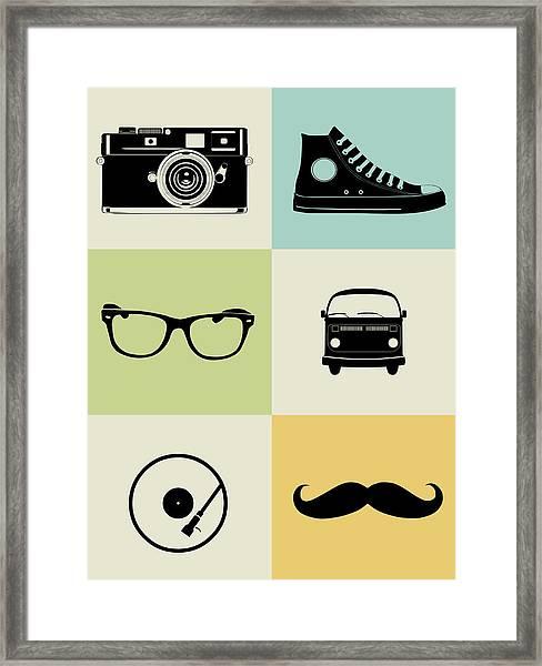 Hipster Mix Poster Framed Print