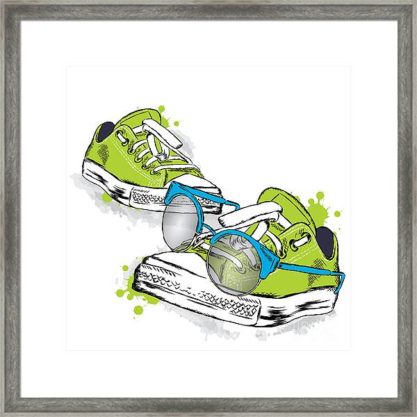 Hipster Sneakers With Glasses Vector Framed Print by Vitaly Grin
