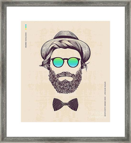 Hipster With Hat And Jazz-bow Framed Print by Blau Ananas