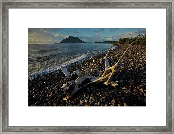 Hiri Island Viewed From A Volcanic Rock Framed Print