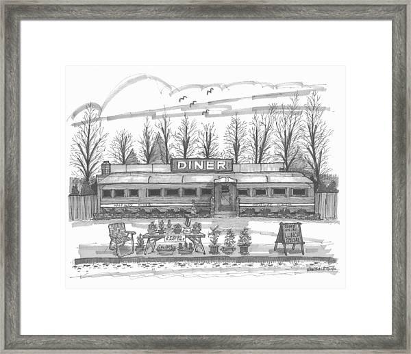 Historic Village Diner Framed Print