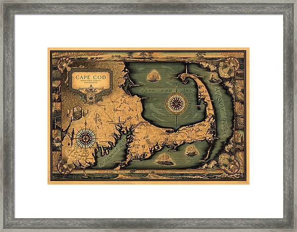 Historical Map Of Cape Cod Framed Print