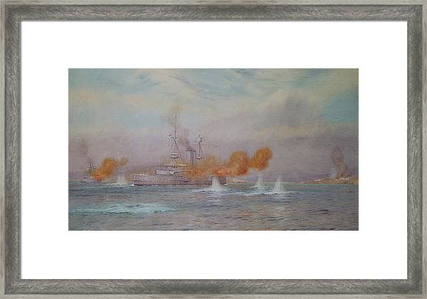 H.m.s. Albion Commanded By Capt. A. Walker-heneage Completing The Destruction Of The Outer Forts Framed Print