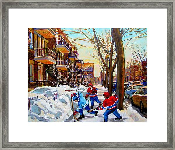 Hockey Art - Paintings Of Verdun- Montreal Street Scenes In Winter Framed Print