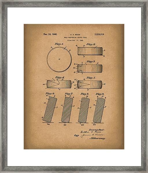 Hockey Puck Patent Art Brown Framed Print
