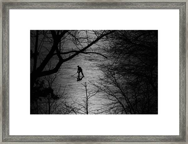 Hockey Silhouette Framed Print