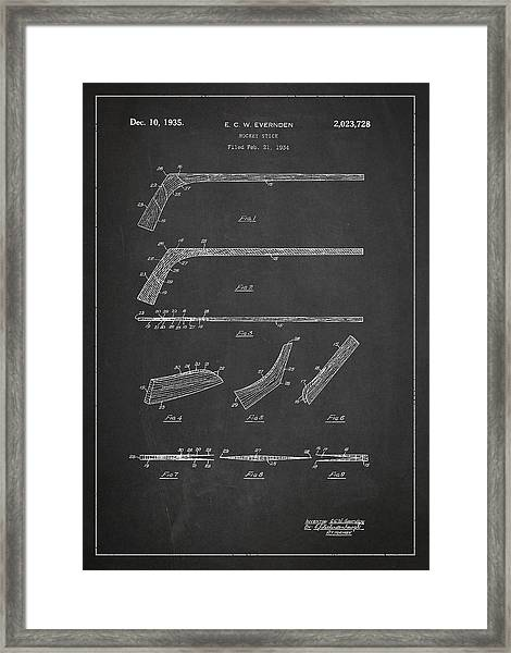 Hockey Stick Patent Drawing From 1934 Framed Print