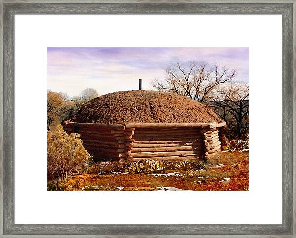 Hogan Monument Valley Winter Painting Framed Print