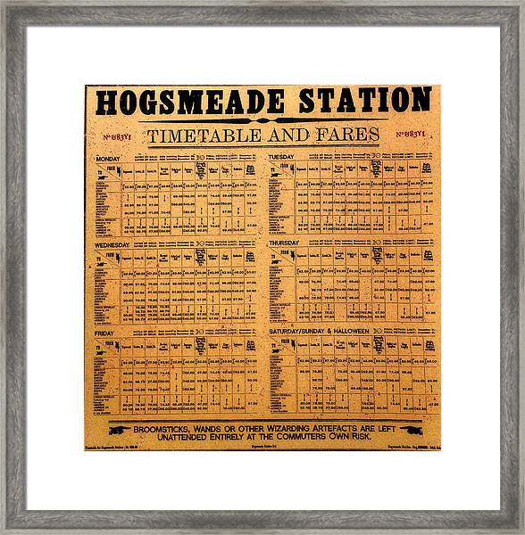 Hogsmeade Station Timetable Framed Print