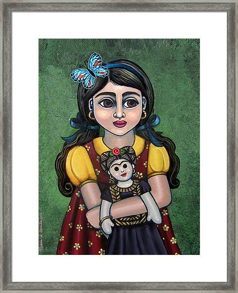 Holding Frida With Butterfly Framed Print