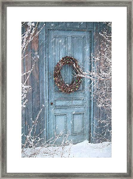 Barn Door And Holiday Wreath/digital Painting Framed Print