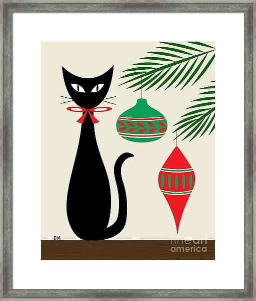 Holiday Cat On Cream Framed Print