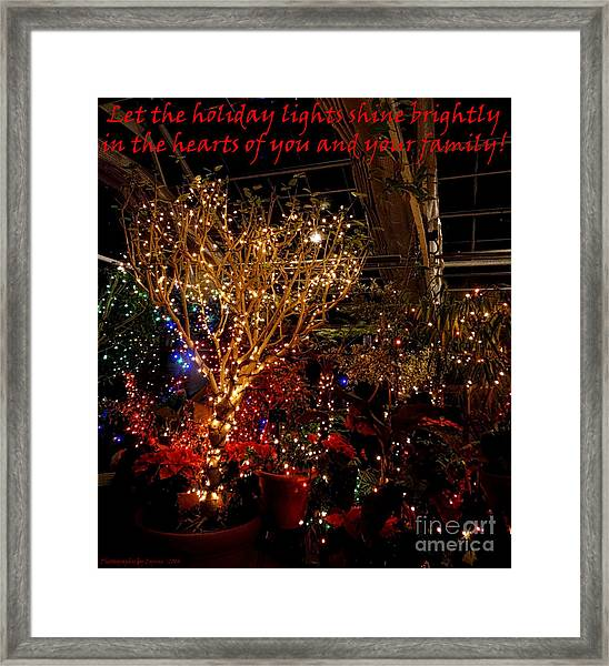 Holiday Lights Greeting Card Framed Print