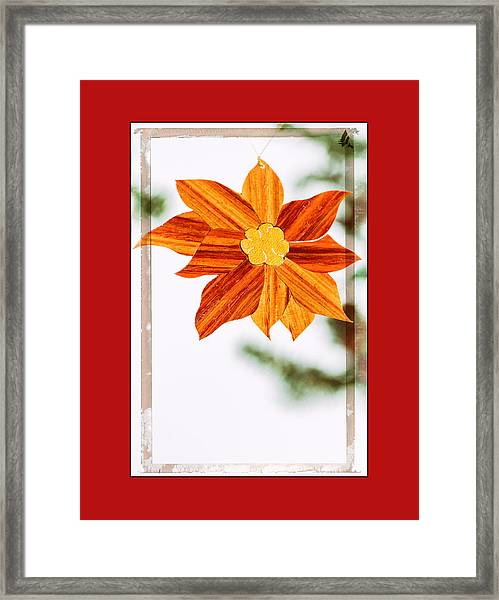 Holiday Pointsettia Art Ornament In Red Framed Print